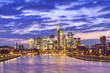 beautiful cityscape of Frankfurt am Main city in Germany. night scene