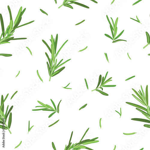 Seamless pattern of green rosemary leaves on white background template. Vector set of element for advertising, packaging design of condiment products.