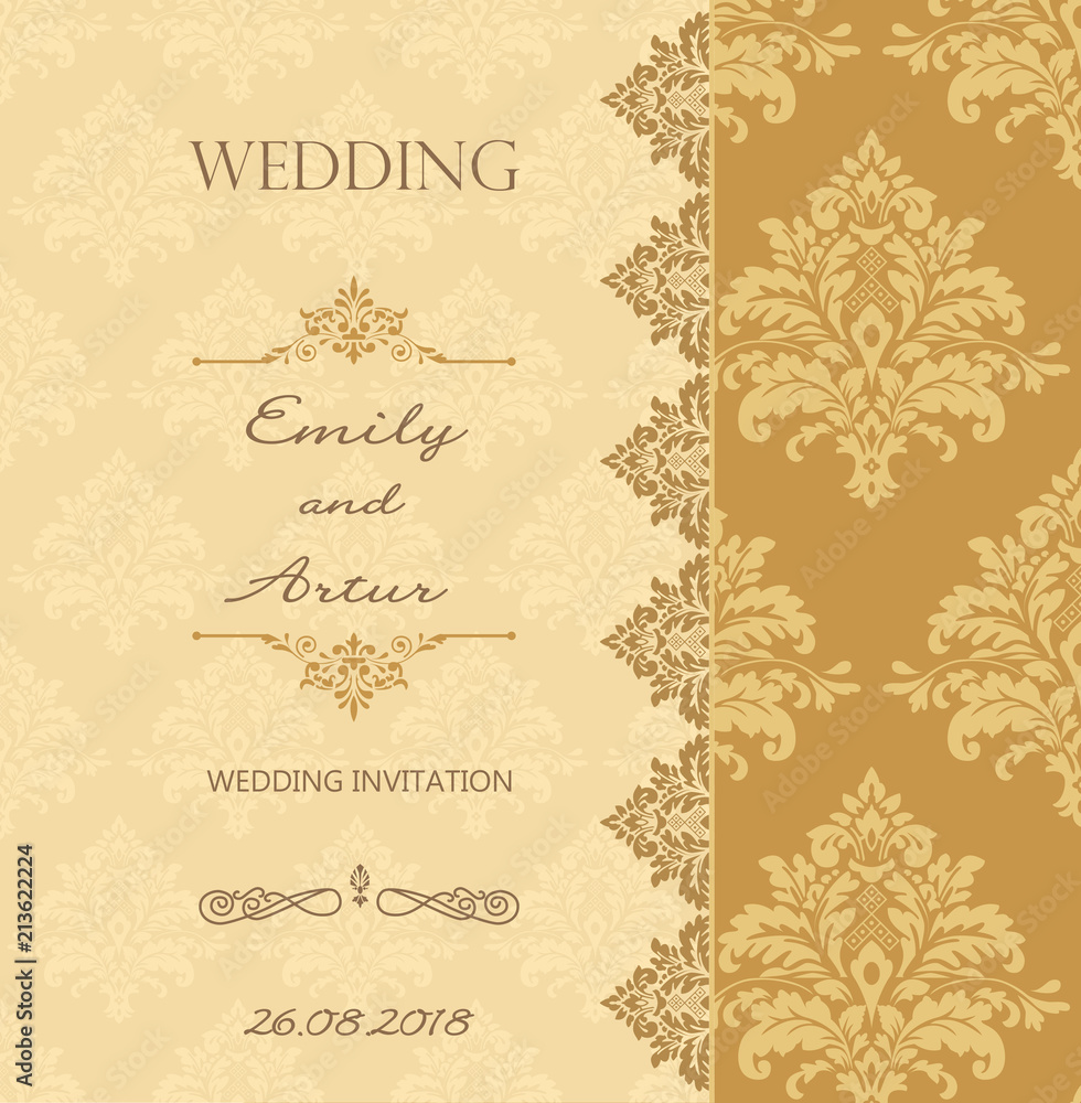 Obraz Vector Wedding Vintage Card Damask Gold Pattern