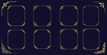 Big Set Of  Thin Vintage Gold Frame For Your Design. Vintage Cover. Place For Text. Vintage Beautiful Rectangular Frame. Vector Illustration.