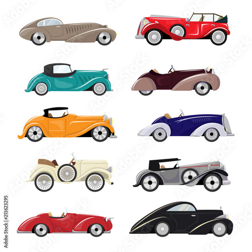 Art deco car vector retro luxury auto transport and art-deco modern automobile illustration set of old automotive vehicle isolated citycar on white background illustration