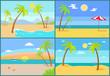 Seascape and Palms Collection Vector Illustration