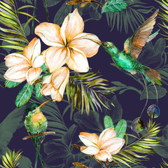 Fototapeta Egzotyczne Beautiful colorful colibri and plumeria flowers on dark background. Exotic tropical seamless pattern. Watecolor painting. Hand painted illustration.