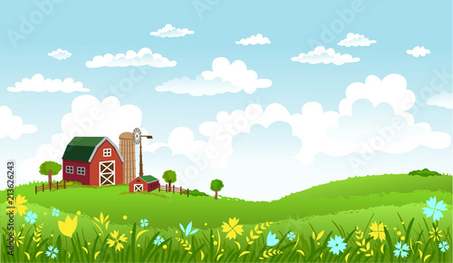 In de dag Groene koraal Vector illustration of beautiful landscape with farm.