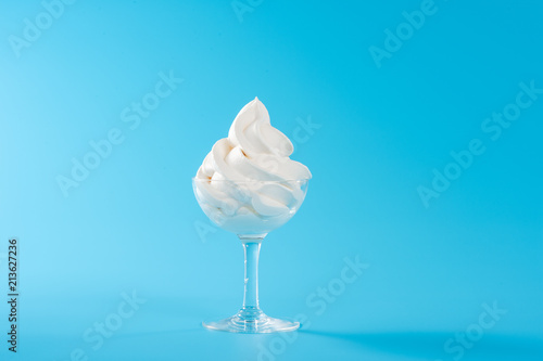 Fotografie, Obraz  Soft serve ice cream isolated with colored background, copy space(text space), b