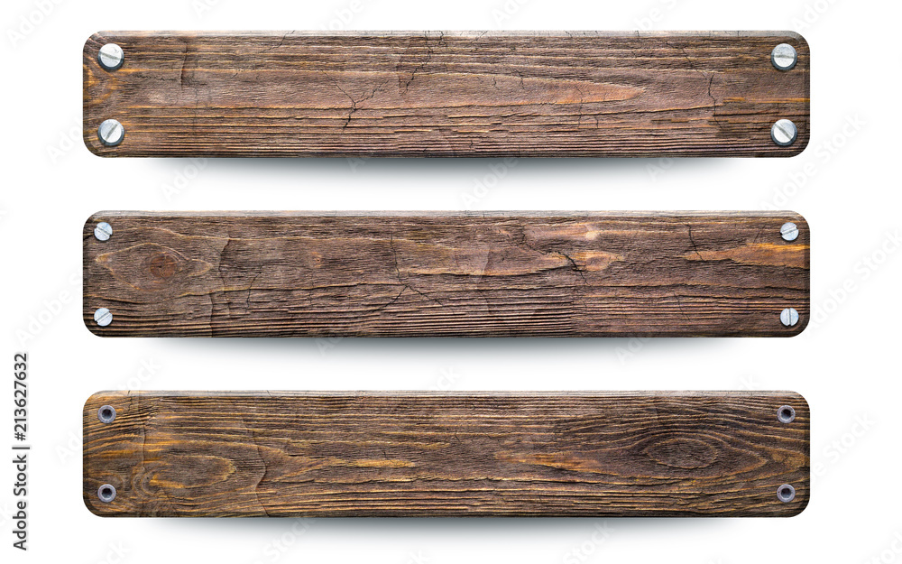 Fototapeta Old rough wood planks sign. Isolated on white with clipping path