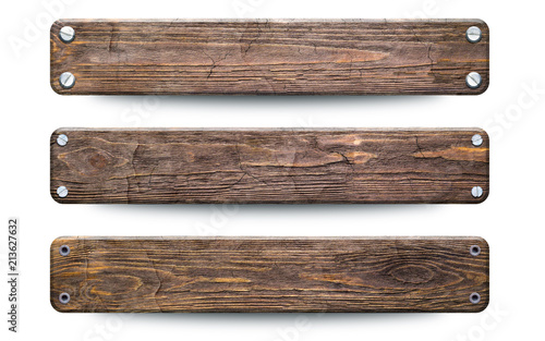 Old rough wood planks sign. Isolated on white with clipping path - 213627632