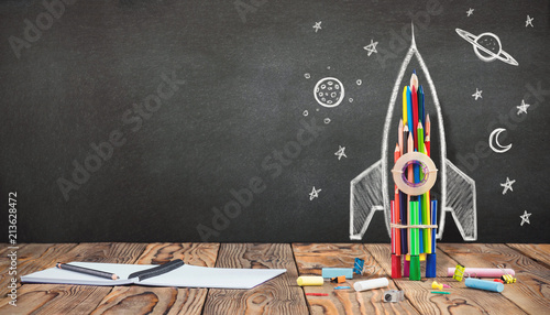 Fototapety, obrazy: Back to School Concept with Hand Drawn Rocket on Blackboard