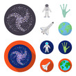 The alien hand, the space shuttle ship Space Shuttle, the astronaut in the spacesuit, the black hole with the stars. Space set collection icons in cartoon,flat style vector symbol stock illustration