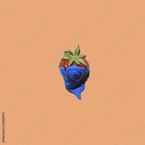 a lonely strawberry painted in blue on minimal pop background, graphic contemporary style