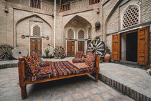 Courtyard Of A Medieval Caravanserai In Bukhara, Uzbekistan. Central Asia