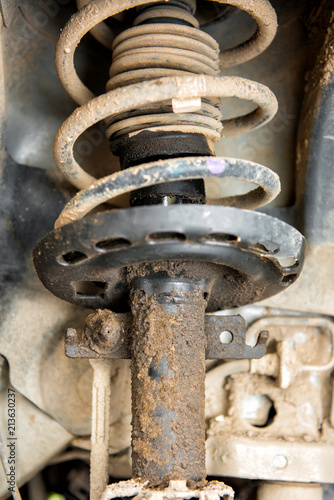 Photo Repair of the shock absorber of the car, a cushioning liquid leaked out