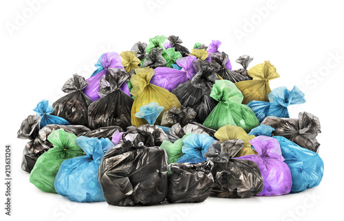 Fotografía  Pile of garbage bags isolated on white background
