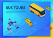 Bus travel concept, landing page template with isometric 3d icons, girl booking online tour and buying ticket, using smartphone, laptop, application design, vector illustration with people