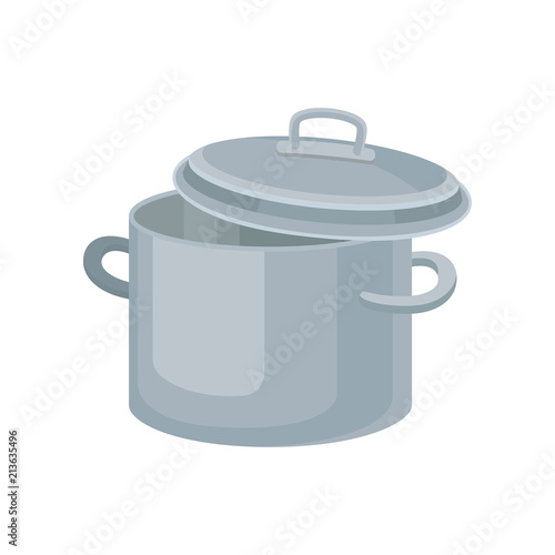 Flat vector icon of metal saucepan for cooking food Canvas