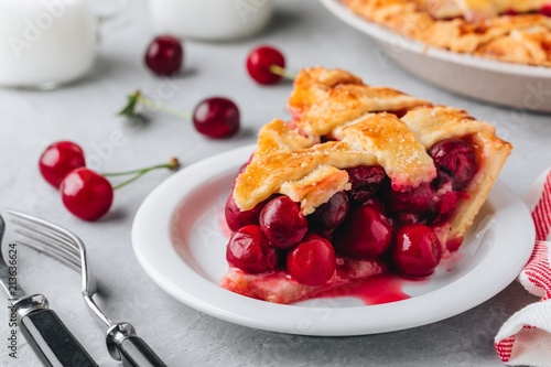 Obraz na plátne Homemade Cherry Pie with a Flaky Crust