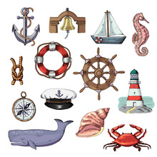 Sea Vector Marine Or Nautical Symbols Lighthouse And Ship Or Sailboat With Anchor On Rope Illustration Set Of Maritime Boat Lifebuoy Isolated On White Background