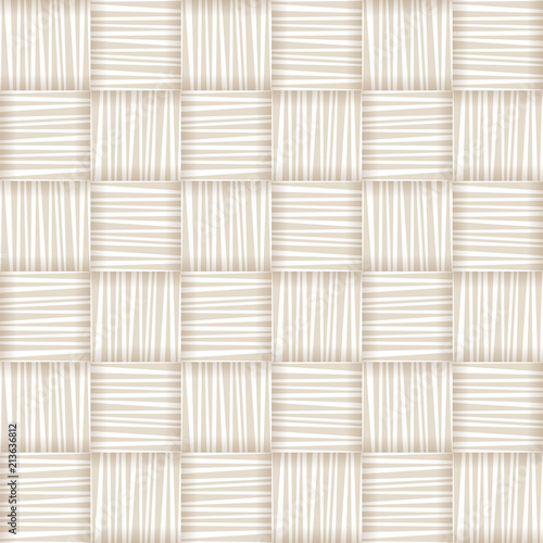 White straw wicker striped geometric seamless pattern, vector Wallpaper Mural