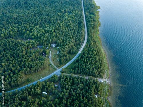 Papiers peints Bleu vert drone image. aerial view shore line in Baltic sea, Hiiumaa, Estonia