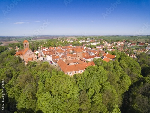 Foto op Plexiglas Luchtfoto Aerial view of medieval Reszel town - small town of Warmia region, with a long history, many historical monuments and various tourist attractions, Poland