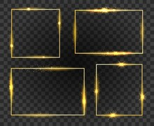 Glow Frames. Golden Shiny Frame Set Isolated On Transparent Background, Gold Fashion Glowing Square Borders With Magic Sparkles