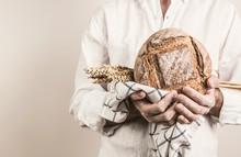 Rustic Crusty Loaf Of Bread In...