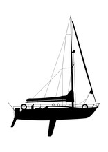 Yacht With Coiled Sails. Black...