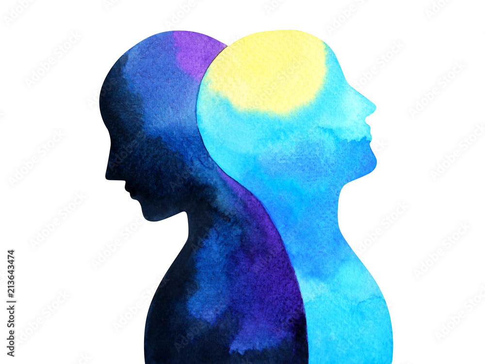 Fototapety, obrazy: bipolar disorder mind mental health connection watercolor painting illustration hand drawing design symbol
