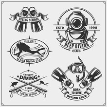 Set Of Scuba Diving Emblems. Underwater Swimming And Spearfishing Labels, Logos And Design Elements.