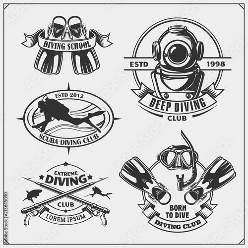 Fotografía Set of Scuba diving emblems