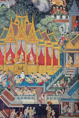 Detail of the wall paintings at the Wat Pho Temple