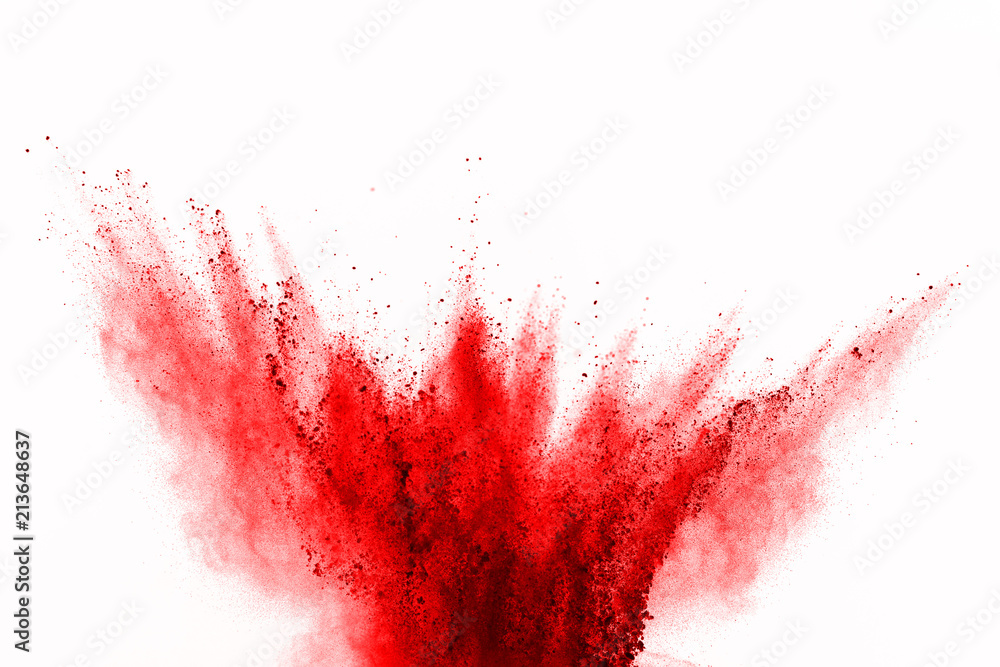 Fototapety, obrazy: Abstract red powder explosion on white background. abstract red dust splatted on white background, Freeze motion of red powder exploding.