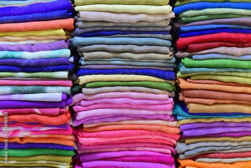 Bunte Stoffe Webarbeiten Inle See Myanmar Asien Buy This Stock