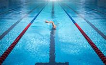 One Man Swimming On Swimming P...