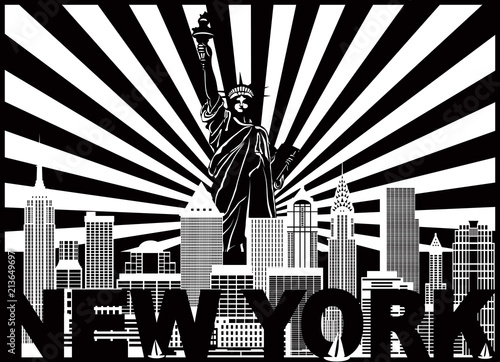 Plakaty czarno białe  new-york-skyline-text-and-sun-rays-vector-illustration