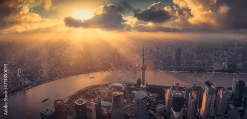 Montage in der Fensternische Shanghai Shanghai city skyline