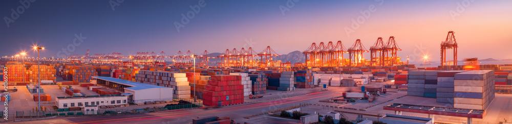 Fototapeta Industrial port at dawn