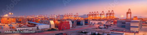 Obraz Industrial port at dawn - fototapety do salonu