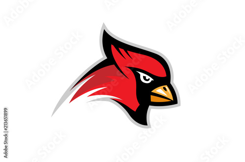 Fotografie, Tablou Cardinal Bird Logo Design Illustration