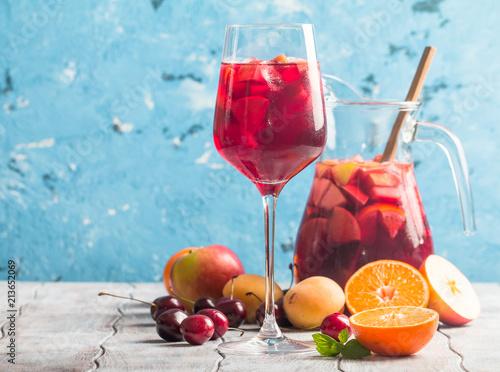 Fototapeta Refreshing sangria with fruit