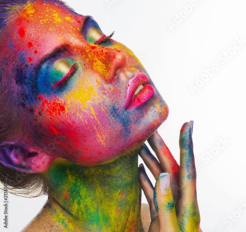 Fotografia  Sensual woman portrait with bright art make-up