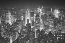 Black And White Aerial Picture Of Manhattan, New York City, USA.