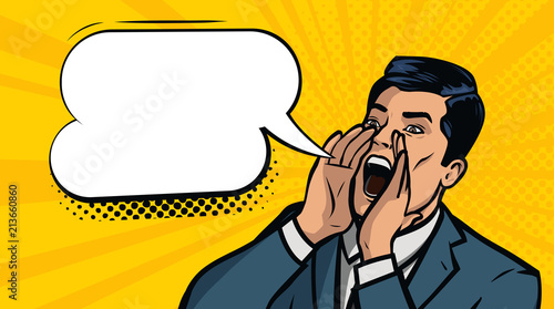 Businessman screaming. Business concept. Vector illustration in style comic pop art