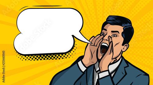 Biznesmen krzyczy Pomysł na biznes. Ilustracja wektorowa w stylu pop-artu, komiks