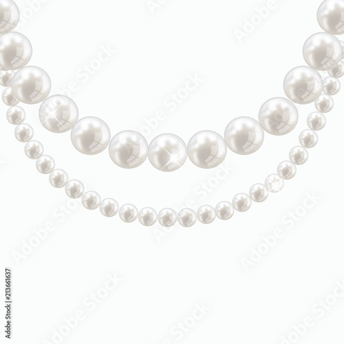 Foto Vector pearl necklace on light background