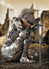 Female Warrior Knight Kneeling...