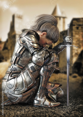 Foto Female warrior knight kneeling wearing decorative metal armor with a castle in the background