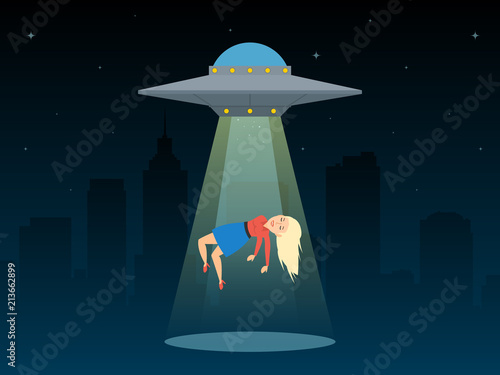 ufo spaceship abduct a woman at night Wallpaper Mural