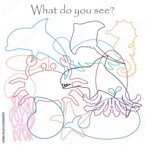Fotografía  Find hidden objects on the picture, ocean animals theme, mishmash contour set, f