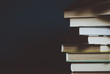 canvas print picture - Tower of colorful books on the table. Closeup of pages. Abstract concept of knowledge, education, learning, and literature. Filter